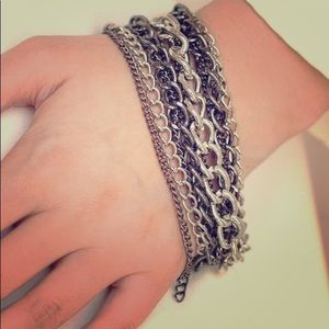 Silver & gun metal multi color bracelet